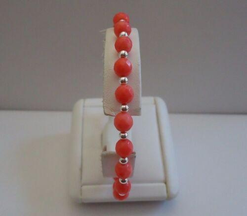 925 STERLING SILVER WRIST BRACELET W// RED CORAL /& SHINY BEEDS //8/'/'// LOBSTER LOCK