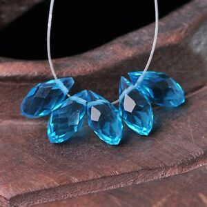 50pcs-12x6mm-Teardrop-Pendant-Faceted-Crystal-Glass-Loose-Beads-Lake-Blue