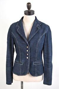Blue Cotton It Jacket Blazer Denim Button Womens Bb03 Medium Trussardi 4 44 wxqz4OS