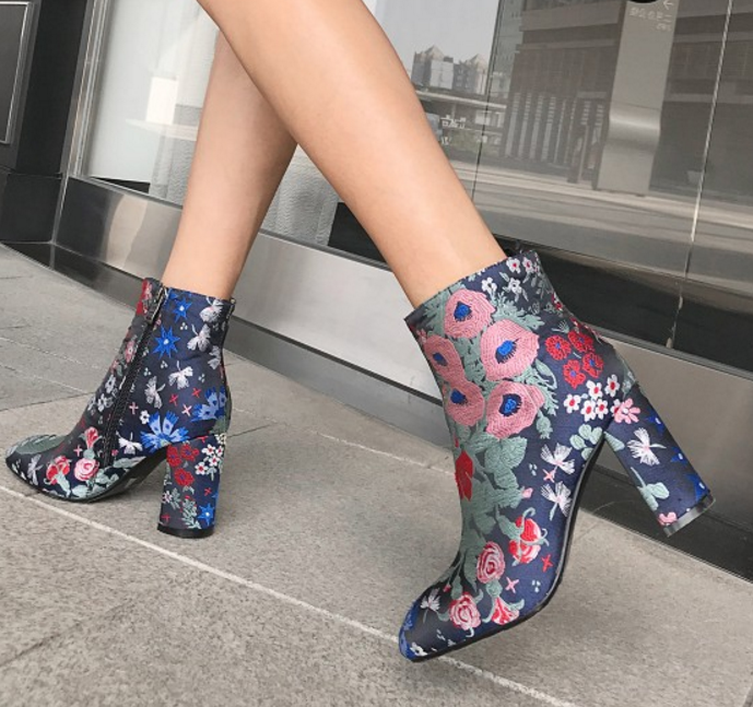 femmes Round Toe Platform Floral Block High Heels Side Zipper Ankle bottes démarrageies
