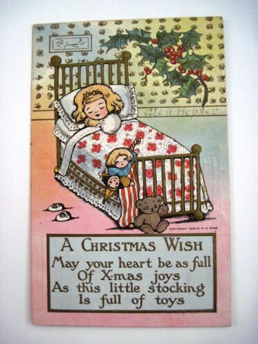 "1908 ""M.G.Hays"" Christmas Post Card w Little Girl Cozy In Bed Used"