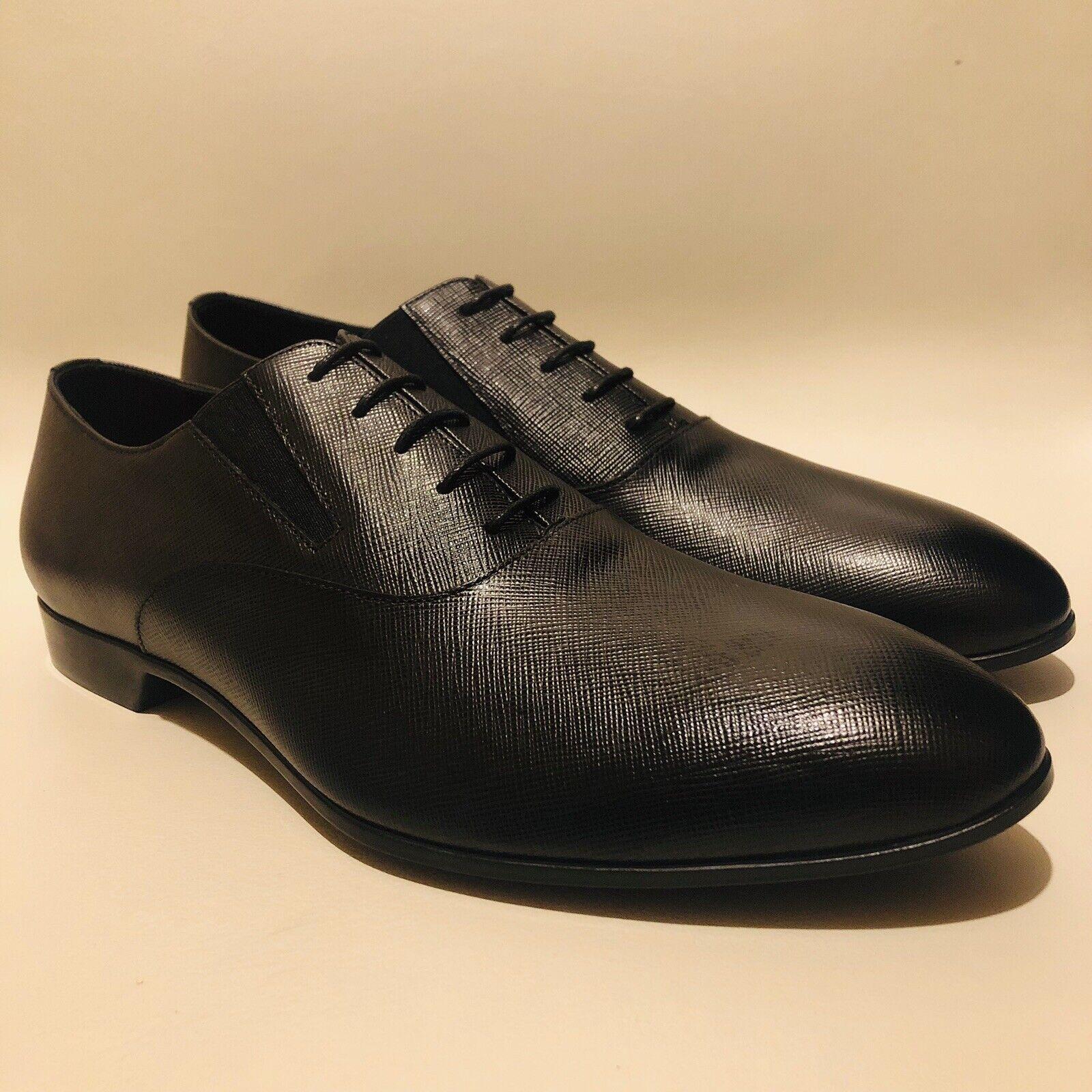 Zapatos de Cuero Prada saffiano Negro para Hombre UK     11.5 de EE. UU.