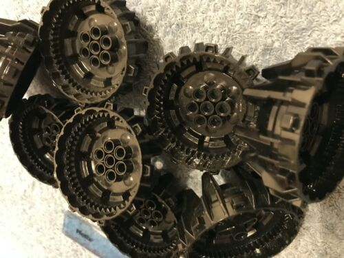 BLACK Lego 8 x Hard Plastic Space Star Wars Wheels with Cleats and Flanges