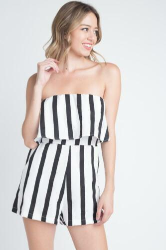 Women's Strapless Romper Stripe Stripe Women's Pocket Pocket Romper Strapless Women's wqSCXC6