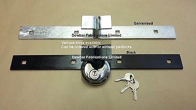 SHED LOCK BARS-  HEAVY DUTY SECURITY - DOOR PADLOCK BARS GALVANISED OR PAINTED