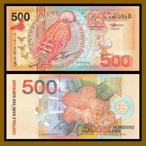 Suriname 500 Gulden 2000 P-150 Bird Flower Unc