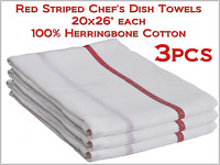 Chef's Dish Towels White W Red Stripe 20x26 Herringbone 100%-cotton - 3pcs