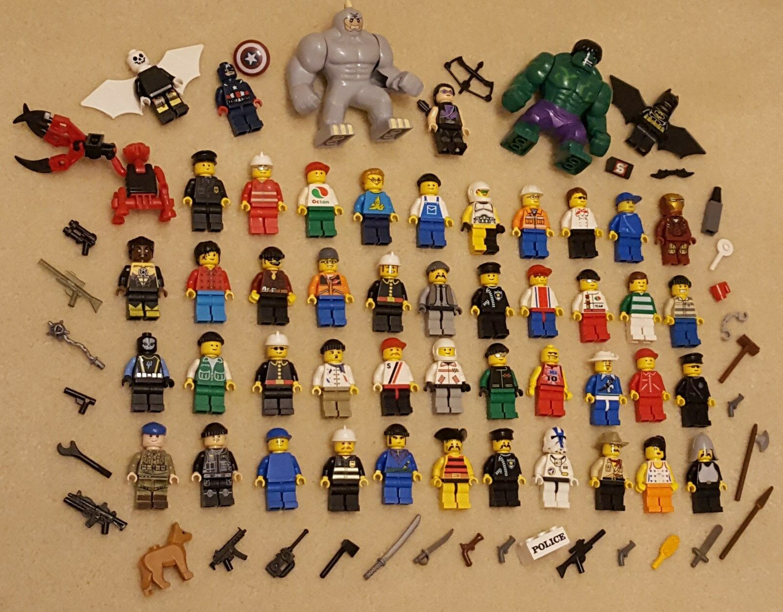 50 Lego Minifigures & Off-brand Minifigures Lot People Hulk Police Super-heroes