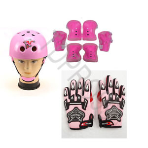 Girls Helmet Elbow Wrist Knee Pads Gloves Protective Set Skating Cycling Sports
