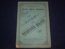 1880 MAURICE GRAU'S FRENCH OPERA CO. PROGRAM LA FILLE DU TAMBOUR MAJOR - J 1886