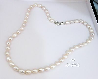 "HS Freshwater Cultured Pearl 8.5-9.5mm Necklace 18"" 925 Sterling Top Grading"