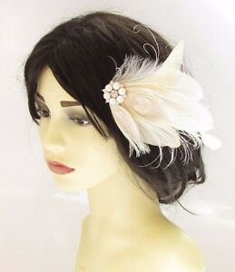 Cream Ivory White Gold Bleached Peacock Feather Fascinator Hair Comb Bridal 2445