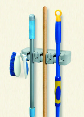 Superio Mop And Broom Holder 3 Slots and 4 Hooks Wall Organizer