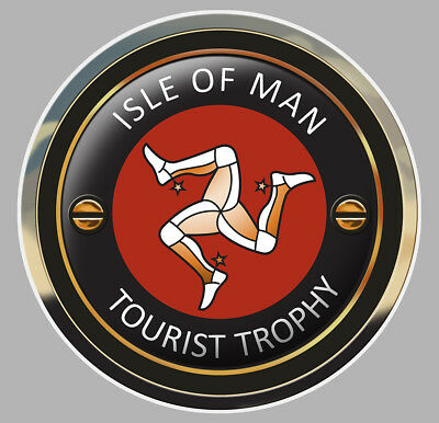Sticker Tourist Trophy Isle Of Man Tt Moto Biker Racing Autocollant 7,5cm Ia072 Choice Materials Automobilia Badges, Insignes, Mascottes