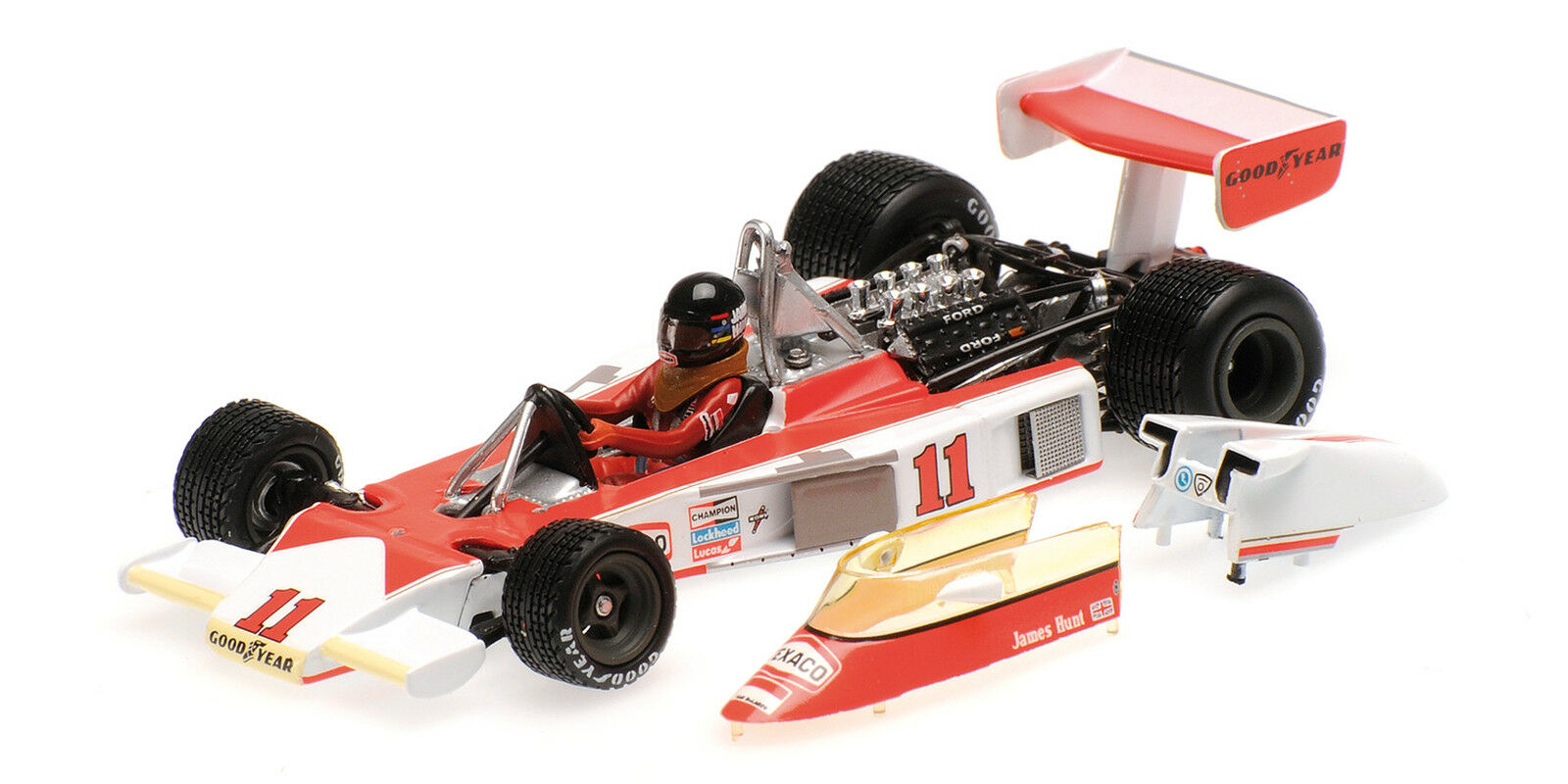 Mclaren ford m23 Hunt w. Champion 1976 w. Engine 530764391 Minichamps 1 43 New