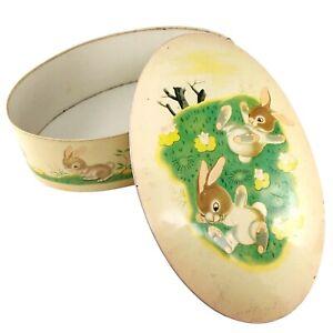 Lively Little Rabbit Tin Metal Box Golden Book Easter Bunny Candy England Vtg