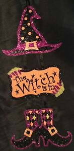 Adorable-Halloween-Hanging-Glitter-Decoration-Witch-Is-In-Sign-Hat-Boots-Purple