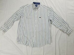 Facconable-Button-Front-Down-Shirt-French-Cuff-White-Blue-Striped-Mens-L-C3