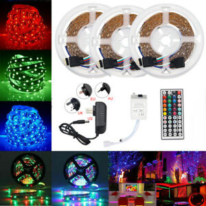 STRISCIA-A-LED-SMD-3528-RGB-5-10-15-METRI-BOBINA-CON-ALIMENTATORE-E-TELECOMANDO