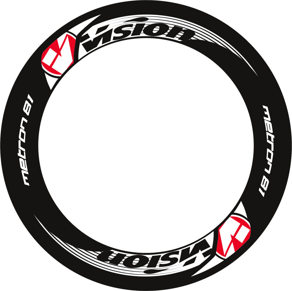 VISION  METRON 81 RIM DECALS SET FOR TWO WHEELS RED  free shipping on all orders