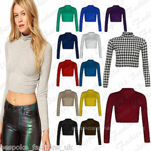 Women-039-s-Polo-Turtle-Neck-Long-Sleeve-Stretchy-Jersey-Cropped-Top-T-Shirt-8-14