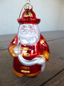 Fireman-Santa-Clause-Ornament-CHIEF-Helmet-Mercury-Glass-OWC-5-034
