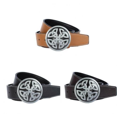 Mens Cowboy Leather Belts with Waistband Decoration Celtic Knot Belt Buckle