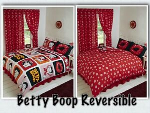 betty boop reversible bedding duvet quilt cover set polka red lips