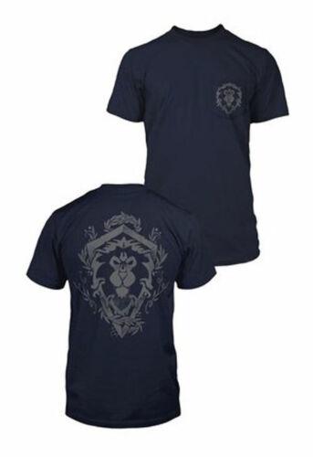 World of Warcraft Alliance Lion Crest Poche Bleu Marine T-Shirt