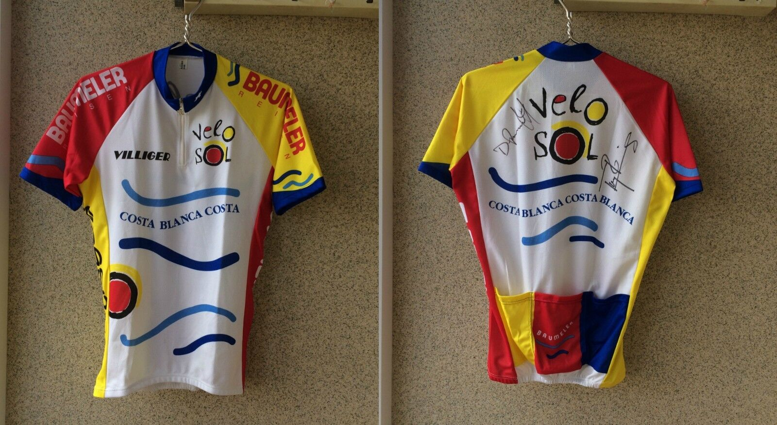 Baumeler Cycling shirt Costa whitea Jersey L camiseta  Velo Sol Signed OLD