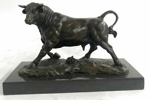 Solid-Bronze-Sculpture-of-a-Bull-Marble-Base-Abstract-Art-Deco-Figurine-Hot-Cast