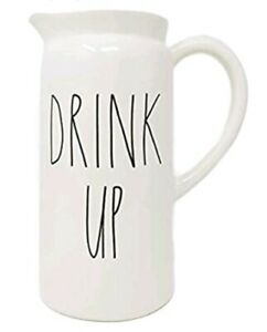 Rae-Dunn-DRINK-UP-Chic-Cream-White-Ceramic-Pitcher-Container-NEW