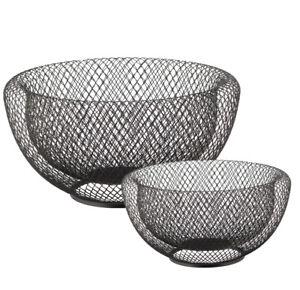 Draht-Schale-Obstschale-2er-Set-Drahtgeflecht-schwarz-30-24cm-Metallkorb-Korb