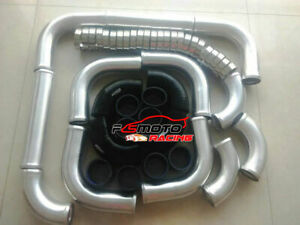 3-034-76mm-Aluminum-Universal-Intercooler-Turbo-Piping-Black-hose-T-Clamp-kits