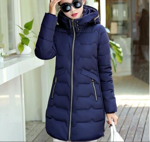 Womens Hooded Jacket Down Cotton Thick New Coat Slim Fit Long Winter Plus Size