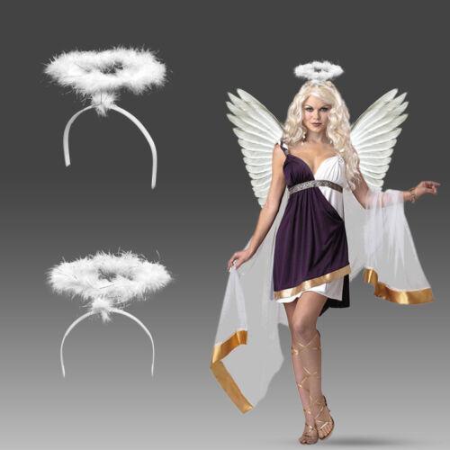 Christmas White Angel Wings Costume Accessory Adult /& Kids Feather Fancy Dress