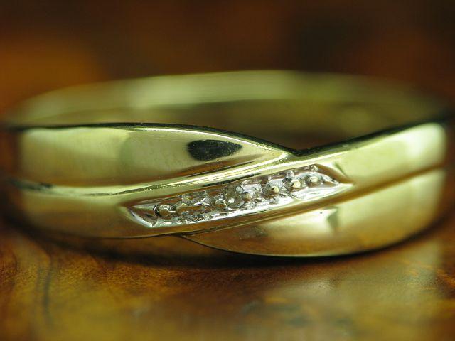8kt 333 yellowgold Ring mit Diamant Besatz   RG 59   1,1g
