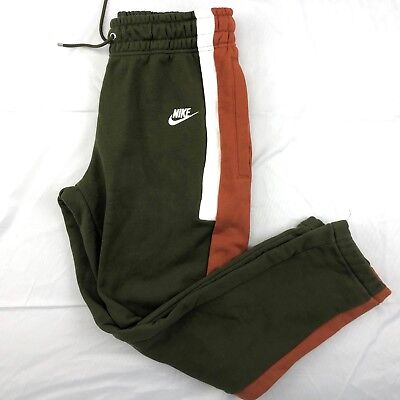 Nike Re-issue Fleece Joggers Sweatpants Olive Green White Aq2100-395 Men's S-m Activewear
