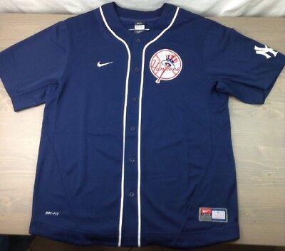 New York Yankees Jersey Large Mens Derek Jeter #2 Nike Genuine Button Down Blue