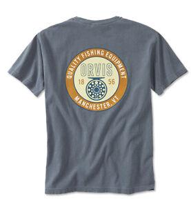 14c6fb07 Orvis Fly Reel Short Sleeved T-Shirt Blue Fishing Boat Pocket Cotton ...