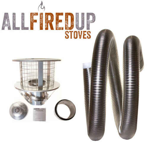 """Flexible Flue Liner 904 Install Kit 3 For Multifuel Wood Burning Stove 5/"""" To 5/"""""""