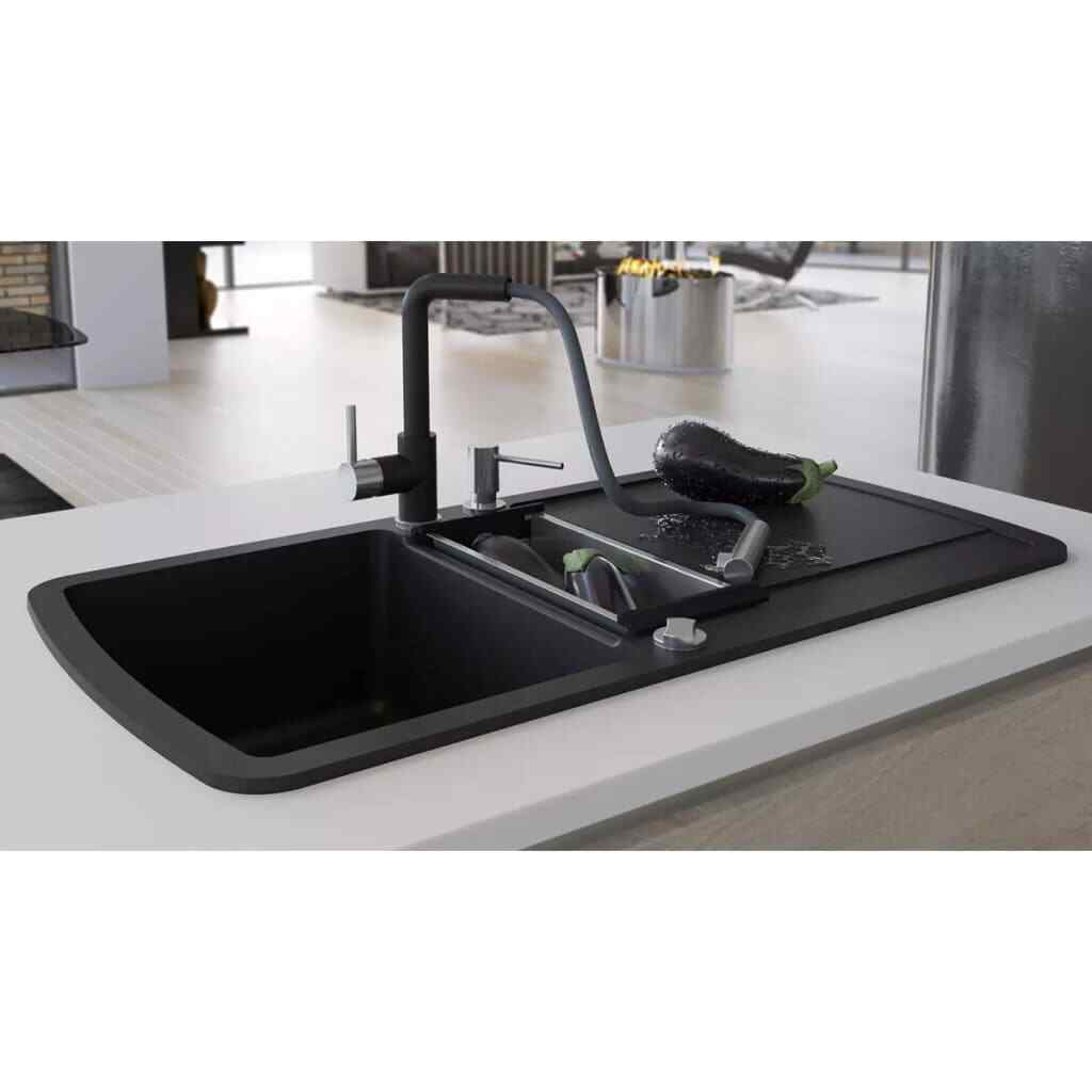 Lavello Cucina Una Vasca Grande vidaxl 142946 lavello da cucina di granito con vasca doppia (vasca grande  360 x 437 x 200 mm, vasca piccola 160 x 345 x 120 mm) - nero