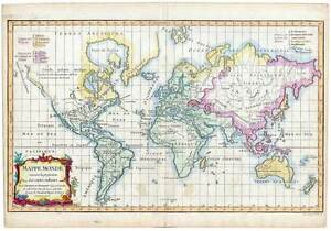 Weltkarte-Worldmap-World-Map-orig. Kupfer-Karte-Robert de Vaugondy D ...