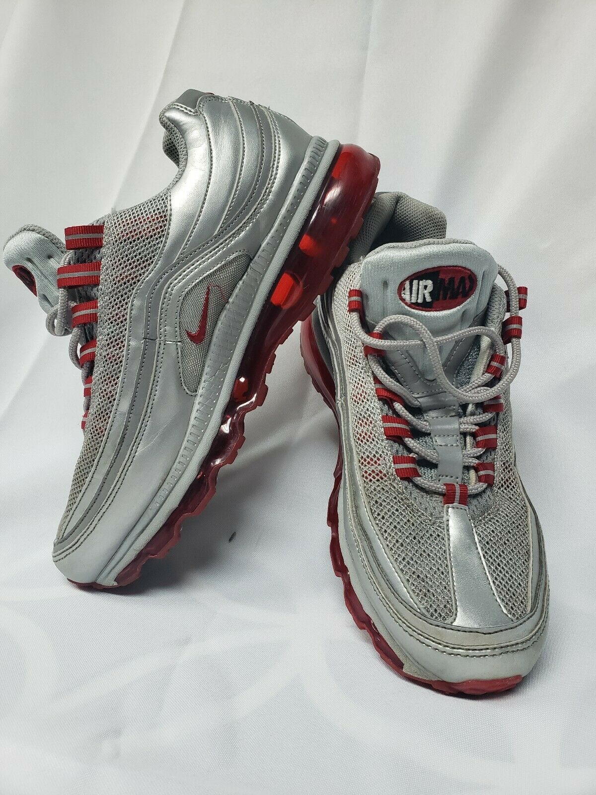 Nike Air Max 24-7 Grey Red Running Sneakers Men's Size 8  397252-008