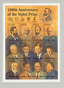 Uganda-1995-100th-Anniversary-Nobel-Prize-M-S-of-12-Unissued-Chromalin-Essay