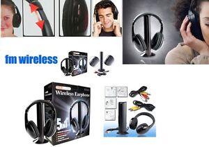 Cuffie-Stereo-Wireless-5-IN-1-Senza-Fili-WIFI-Cuffia-per-Pc-Tv-Mp3-con-MICROFONO