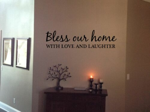 """Bless Our Home With Love Laughter vinyl wall quotes home decor entry 24/"""" x 6/"""""""