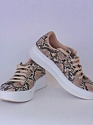 womens topshop snake skin trainers