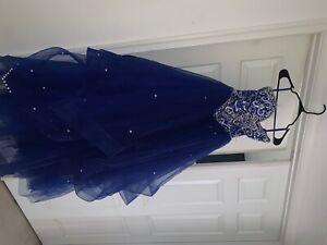 royal blue quinceanera dress/ sweet 16 adjustable corset back, size s/m