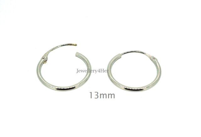 9ct White Gold Tiny Small Plain 13mm Top Half Hinged Hoop Sleeper Earrings Pair